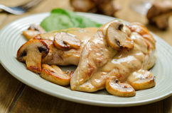 Chicken with White Wine and Mushrooms. A delicious plate of boneless, skinless, chicken breasts sauteed with white wine, basil, and mushrooms Royalty Free Stock Photo