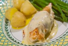 Chicken in white wine sauce. With potatoes and asparagus Royalty Free Stock Images