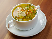 Chicken and wild rice soup stock images