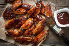 Chicken wing with sauce Stock Photography