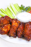 Chicken wings. Spicy Buffalo Wings with Dipping Sauce Stock Photos