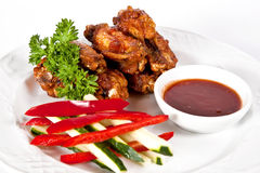 Chicken wings with barbecue sauce Royalty Free Stock Images