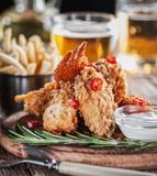 Chicken wings in a batter with stock photography