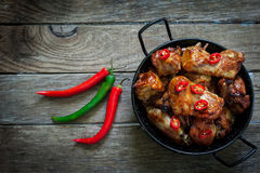 Chicken wings with bbq Stock Photography