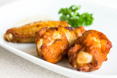 Chicken wings BBQ on a white plate Royalty Free Stock Images