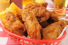 Chicken wings and beer Royalty Free Stock Images