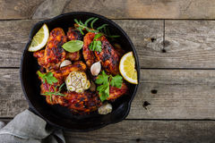 Chicken wings in cast iron skillet Royalty Free Stock Photography