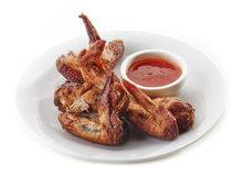 Chicken wings and chili sauce Royalty Free Stock Photo