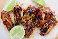Chicken Wings. Close up of some hot and spicy barbecue chicken wings stock photography