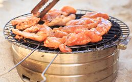 Chicken Wings Cook on Barbecue Grating on Beach Royalty Free Stock Photos