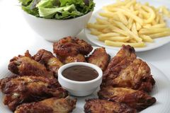 Chicken wings dinner Royalty Free Stock Images