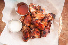 chicken wings with dip Royalty Free Stock Photography