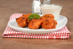 Chicken wings with dipping sauce Stock Photo