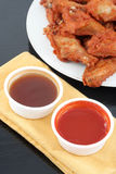 Chicken wings and dips Stock Photos