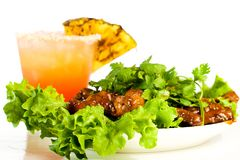 Chicken Wings and a Drink Royalty Free Stock Photography