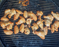 Chicken wings and drumsticks on a grill. Cooked on  indirect heat Royalty Free Stock Photography