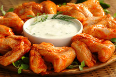 Chicken wings. Fresh marinade chicken wings with sauce Royalty Free Stock Image