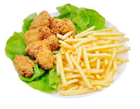 Chicken wings and Fries Royalty Free Stock Image