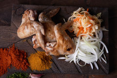 Chicken wings grill food background, wood background. Stock Photography