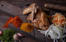 Chicken wings grill food background, wood background. Royalty Free Stock Photos