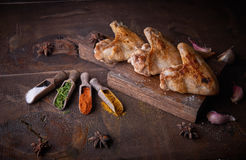 Chicken wings grill food background, wood background. Royalty Free Stock Image