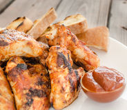 Chicken wings on grill Royalty Free Stock Images