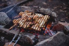 Chicken wings on the grill. Shish kebab on the grill of chicken wings Stock Photos