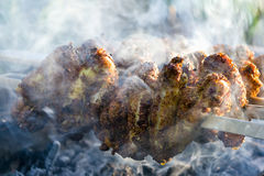 Chicken wings on the grill. With smoke. Macro. Shallow DOF Royalty Free Stock Photo