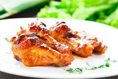 Chicken wings with honey sauce Stock Images