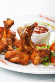 Chicken wings with hot spicy  sauce Stock Photo