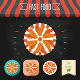 Chicken wings icons on a chalkboard. Set of icons and eco label. Flat design. Vector Stock Photo