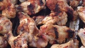 Chicken wings and meatballs barbecue grill stock video