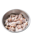 Chicken wings in metal bowl Stock Image