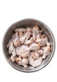 Chicken wings in metal bowl isolated on white Stock Image