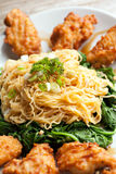 Chicken Wings with Noodles Royalty Free Stock Images