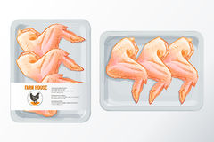 Chicken wings polystyrene packaging vector. Fresh chicken wings White polystyrene packaging, vector mockup Top view vintage vector isolated sketch hand drown Royalty Free Stock Photos
