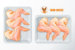 Chicken wings polystyrene packaging vector. Fresh chicken wings White polystyrene packaging, vector mockup Top view vintage vector isolated sketch hand drown Stock Image