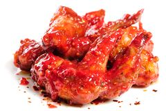 Chicken wings in raspberry sauce Stock Photos