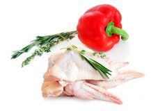 Chicken wings and red pepper Stock Photos