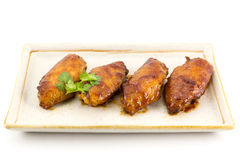 Chicken Wing. S and red sauce with coriander  isolated on white background Royalty Free Stock Photos