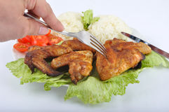 Chicken wings with rice Stock Image