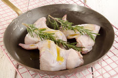 Chicken wings with rosemary and olive oil Royalty Free Stock Photography