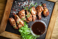Chicken wings with sauce Stock Photo
