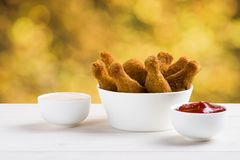 Chicken wings and sauces Royalty Free Stock Image