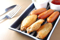 Chicken wings sausages Stock Photos