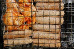 Chicken wings and shish kebab Stock Image