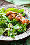 Chicken wings and vegetable salad Stock Image