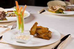 Chicken Wings with Vegetables and Dip Stock Photography