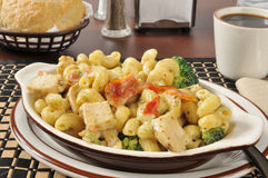 Free Chicken With Basil Parmesan Sauce On Pasta Stock Photo - 31554780