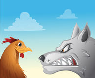 Chicken wolf faceoff Royalty Free Stock Photography
